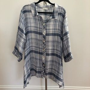 Habitat Blue/White Plaid Linen Button up Tunic